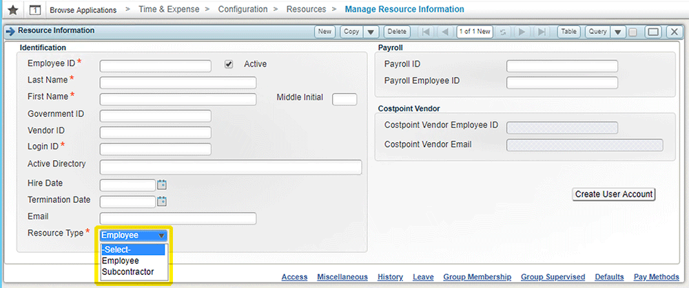 Deltek Time & Expense module integration - TE10
